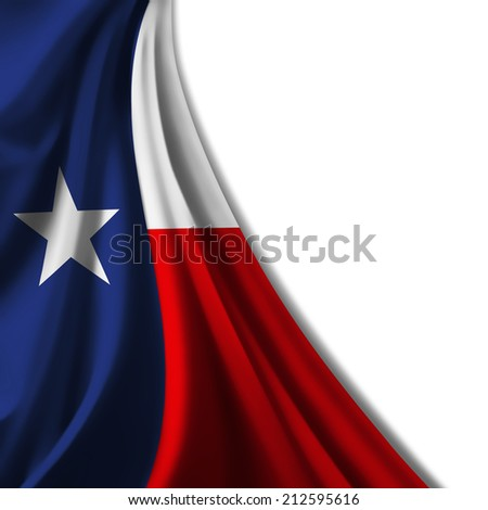 Texas flag  and white background - stock photo