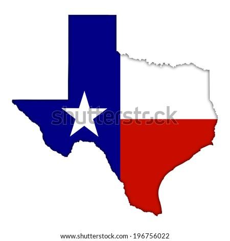 Texas flag map icon - stock photo