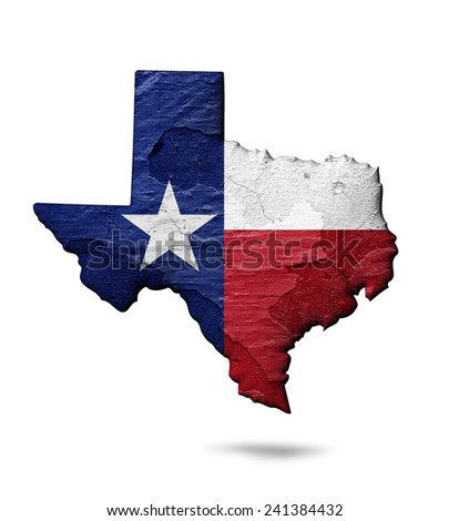 Texas flag map of wall and white background - stock photo