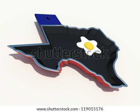 texas frying pan with egg - stock photo