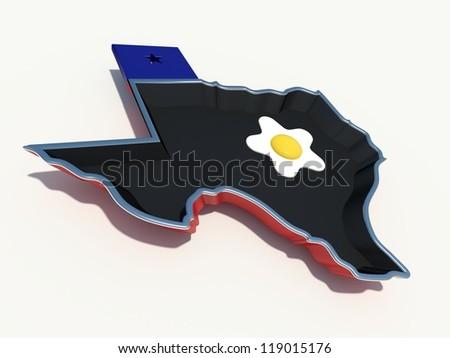 texas frying pan with egg - stock photo