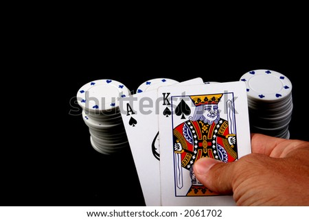 texas hold'em poker game with cards - stock photo