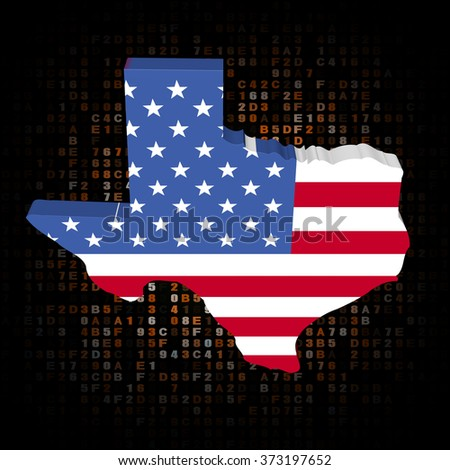 Texas map flag on hex code illustration - stock photo