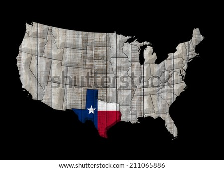 Texas map with America map and black background