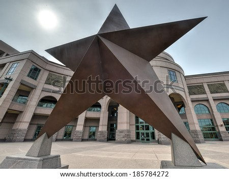 Texas Star in front of the Bob Bullock Texas State History Museum in downtown Austin, Texas. - stock photo