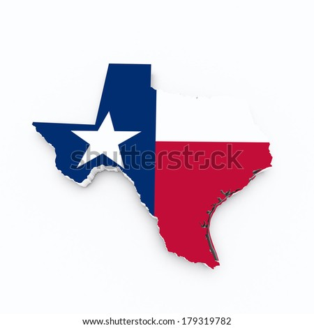 texas state flag on 3d map - stock photo