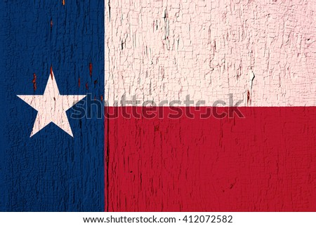 Texas State flag on the peeled, textured, aged paint background - stock photo