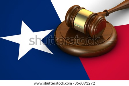Texas us state law, code, legal system and justice concept with a 3d render of a gavel on the Texan flag on background. - stock photo