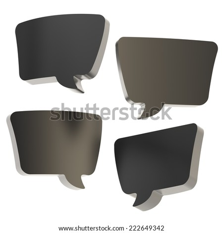 Text bubble black dimensional shapes isolated over the white background, set of four foreshortenings - stock photo