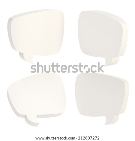 Text bubble dimensional white shapes isolated over the white background, set of four foreshortenings - stock photo
