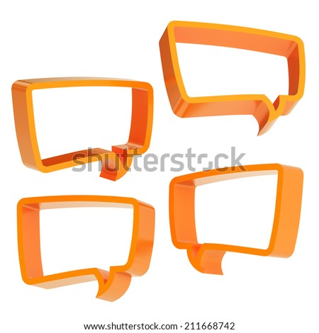Text bubble orange dimensional shapes isolated over the white background, set of four foreshortenings - stock photo
