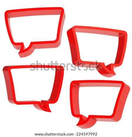 Text bubble red dimensional shapes isolated over the white background, set of four foreshortenings - stock photo