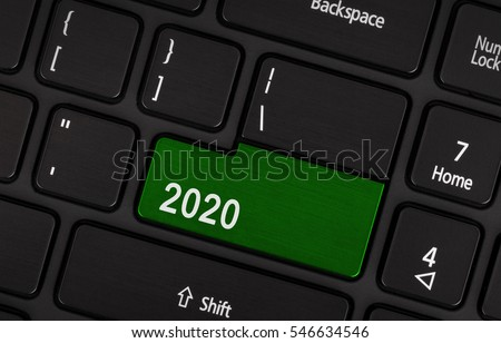 Text 2020 button, happy new year 2020 concept