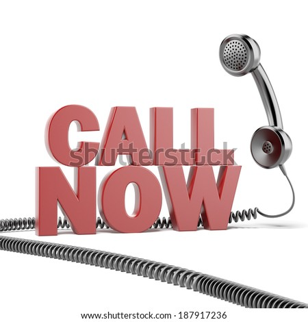 Text call now  and phone - stock photo