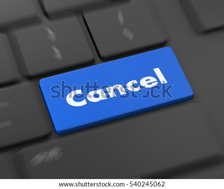 Text cancel button, 3d rendering