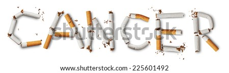 Text ''cancer'' made from broken cigarettes - stock photo