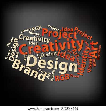 Text cloud. Design wordcloud. Tag concept. Illustration. - stock photo