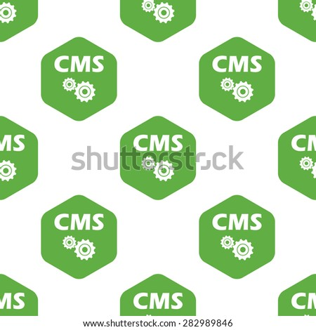Text CMS and two gears in hexagon, repeated on white background - stock photo
