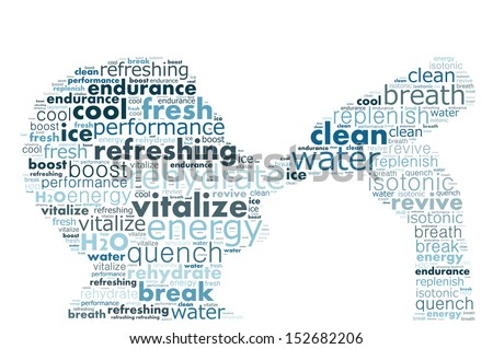 Text collage of a man drinking water - stock photo