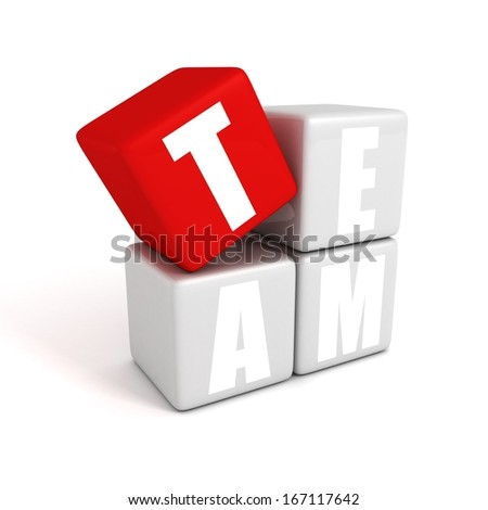 text concept team building toy blocks