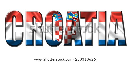 Text concept with Croatia waving flag - stock photo