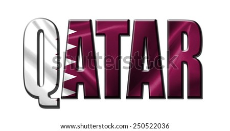 Text concept with Qatar waving flag - stock photo