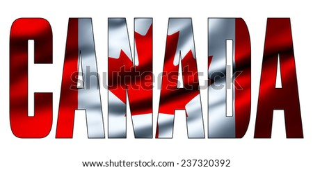 Text concept with waving flag - Canada - stock photo