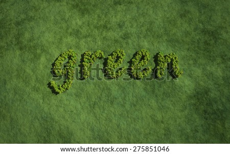 text create by tree for the natural concept - stock photo