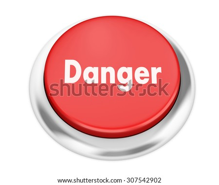 Text danger button 3d render - stock photo