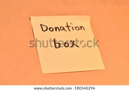 Text donation box on the short note texture background
