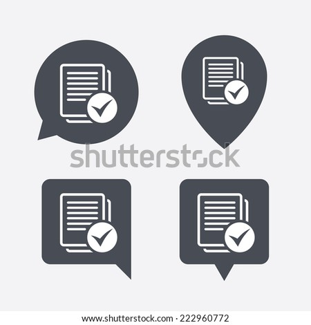 Text file sign icon. Check File document symbol. Map pointers information buttons. Speech bubbles with icons. - stock photo