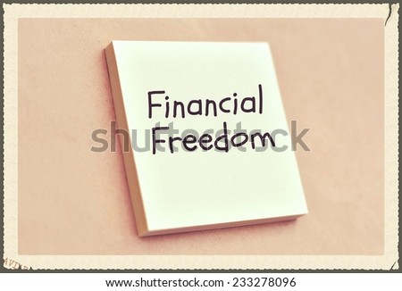 Text financial freedom on the short note texture background