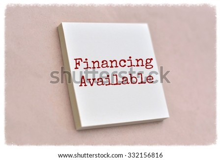 Text financing available on the short note texture background - stock photo