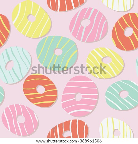 Text frame. Doughnut illustration. Colorful Donuts with icing. Decorative Text frame with Tasty Donuts. Cute snack template. Endless texture, dessert background. Sweet backdrop.