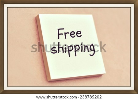 Text free shipping on the short note texture background - stock photo