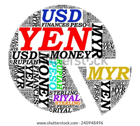 Text Graphics of Currency and stock concept over white background. - stock photo