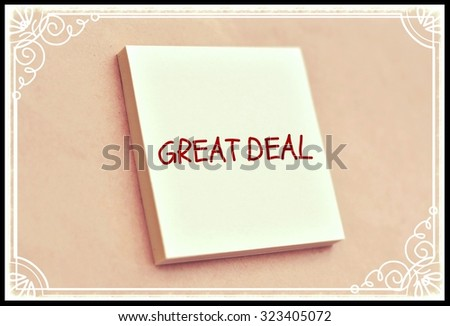 Text great deal on the short note texture background - stock photo
