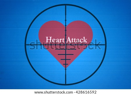 Text Heart Attack in the center of the target on blue background - stock photo