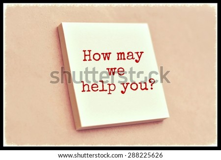 Text how may we help you on the short note texture background - stock photo