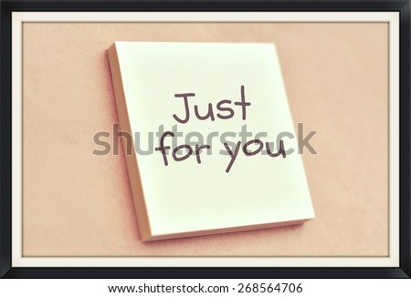 Text just for you on the short note texture background - stock photo