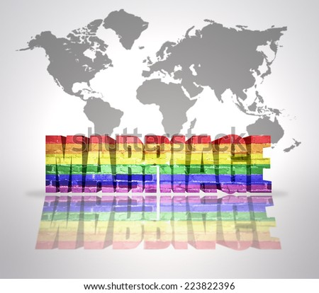 Text Marriage with Rainbow Gay Flag on a world map background