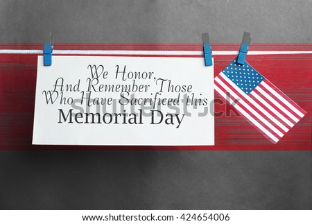 Text Memorial Day on American flag background. honoring card concept - stock photo