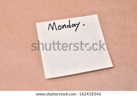 Text Monday on the short note texture background - stock photo