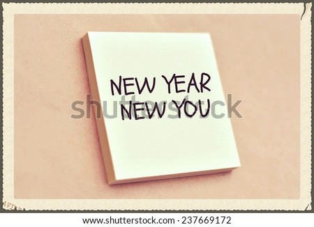 Text new year new you on the short note texture background - stock photo