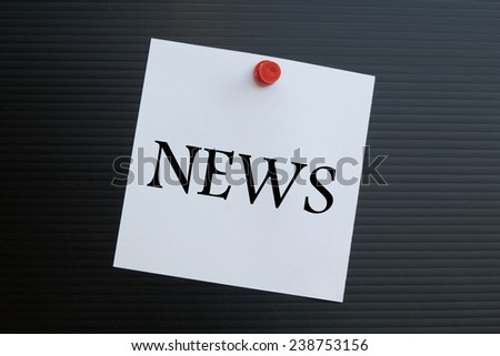 Text news on note paper  - stock photo