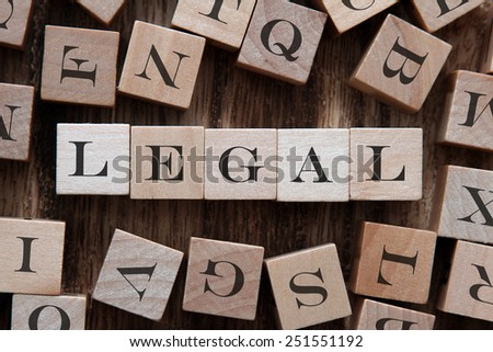 text of LEGAL on cubes - stock photo