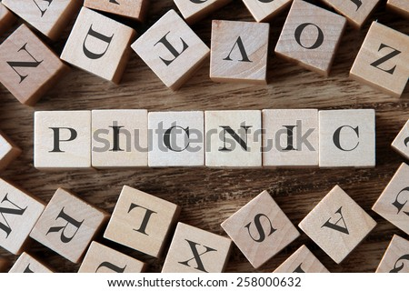 text of PICNIC on cubes - stock photo