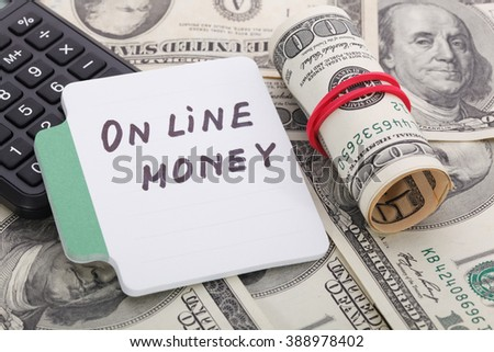 Text - on line money. Business concept. - stock photo