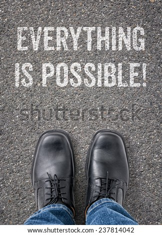 Text on the floor - Everything is possible - stock photo