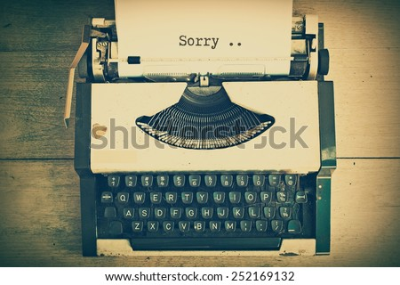 text on the paper in vintage typewriter vintage color tone - stock photo